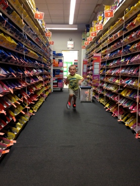 Also, I made the kids run around the entire store in each pair they tried on, mainly because it was so cute.