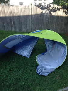 F&*king tent, currently misshapen on our lawn