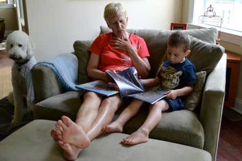 George reading* an entire book to Oma! *reciting from memory, but still