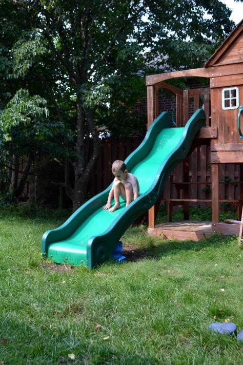 Naked + hot slide = bad idea