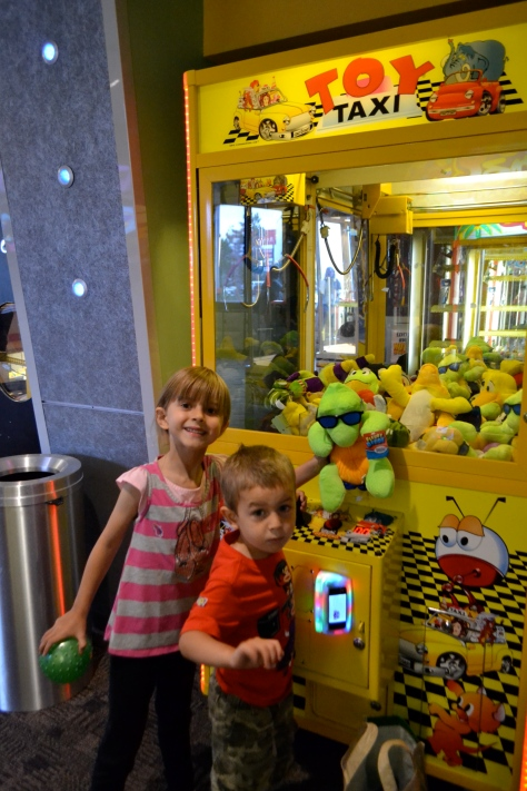 Hazy won that ball without putting any money in the claw machine! I won that cool turtle with my mad claw machine skills and some good advice.