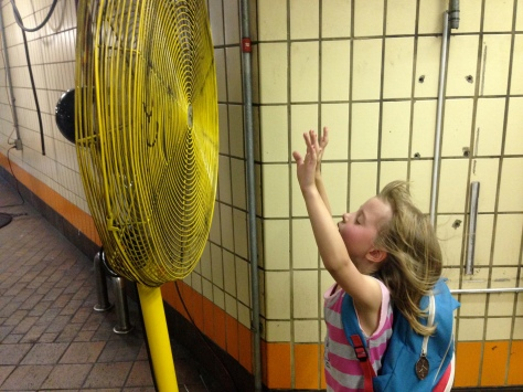 Cooling down in the T station