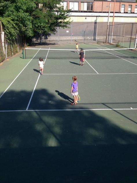 Showing off her newfound tennis skills.