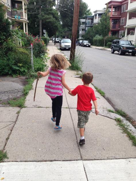 i.e. Hazy and George skipped down the street carefree
