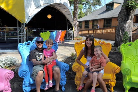 I loved this long line of colorful chairs, and I wanted to get a photo of each of us sitting in one, but then the kids hopped in our laps, and it seemed stage-mommish to be like,