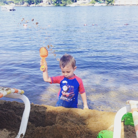George attempted to dump the entire contents of the Naswa beach into the lake.