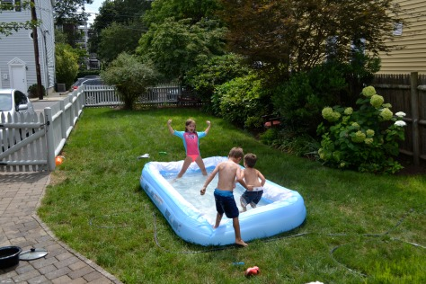 girl dominates baby pool