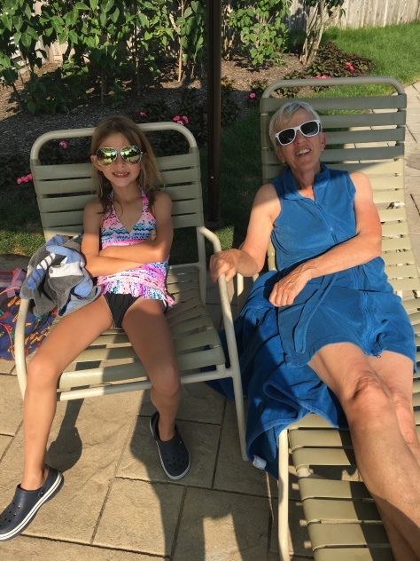 Hazy with Oma poolside